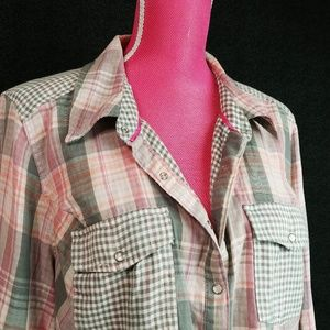 Gingham And Plaid Snap Button Down Shirt